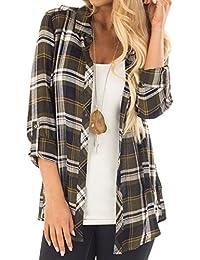 Womens Casual Cuffed 3 4 Long Sleeve Plaid Button Down Shirts Blouse Tops