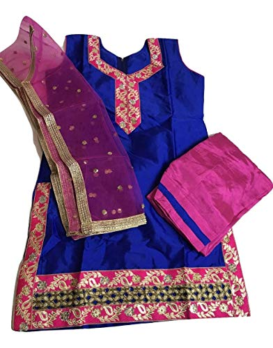 Girls Punjabi Salwar Suit Indian Wedding/Party Wear/Sangeet Dress (Indian Size 32 Fits (7-8 Yr Old))