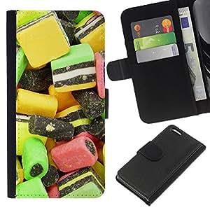 Lead-Star (Design Candy Macro) Colorida Impresión Funda Cuero Monedero Caja Bolsa Cubierta Caja Piel Card Slots Para Apple iPhone 5C