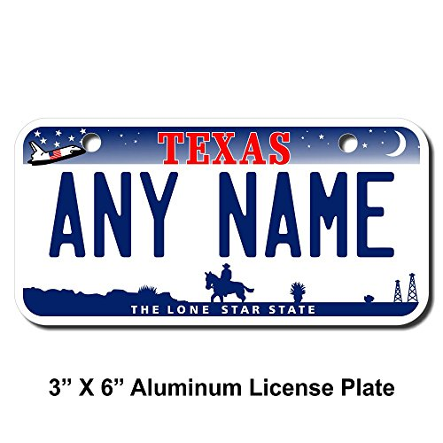 TEAMLOGO Personalized Texas License Plate - Sizes for Kid's Bikes, Cars, Trucks, Cart, Key Rings Version 3 (3 X 6 Aluminum License Plate)
