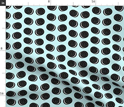 (Spoonflower Oreo Fabric - Cookie Cookies Milk Milk and Cookies by Cityette Printed on Satin Fabric by The Yard)