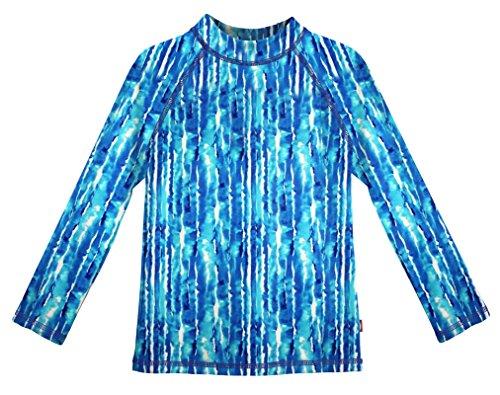 City Threads LS Girls' Rashguard Swimming Suit Swim Tshirt Tee UPF50+ Sun Protection for Beach Pool Summer Fun, Water Tie-Dye, 7 ()