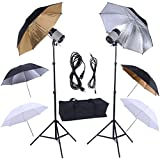 Safstar Photography Photo Studio 320W Monolights Strobe Flash Light Umbrella Lighting Kit - 2 x 160W Studio Flash/Strobe/Speedlite, 2 x Lighting Stands, 6 x 33'' Umbrellas, 1x Heavy Duty Carrying Case