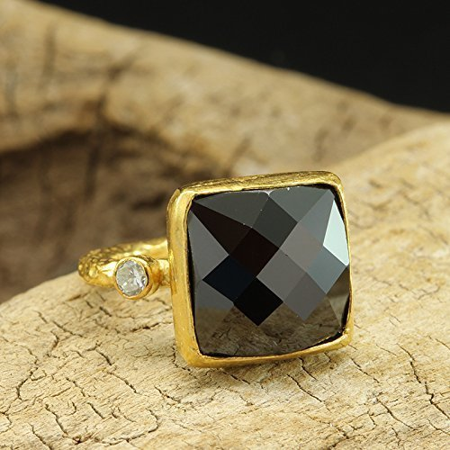 - Faceted Checkerboard Black Cubic Zirconia Ring 925 Sterling Silver 24K Yellow Gold Vermeil Handcrafted Hammered Large Right Hand Ring