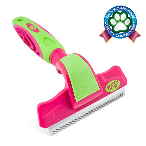 2PET FWIPER- Deshedding Dog Brush for Small, Medium & Large Sized Dogs, Cats & Other Pets - Reduces Undercoat Shedding by 95% - Designed to Groom Medium to Short Hair. Large 4 Inches Flush Pink
