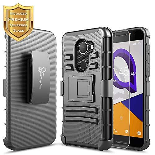 T-Mobile REVVL Case with [Tempered Glass Screen Protector], Alcatel A30 Fierce (MetroPCS) / Alcatel A30 Plus 5.5 / Alcatel Walters, NageBee [Heavy Duty][Belt Clip Holster Kickstand] Combo Case-Black