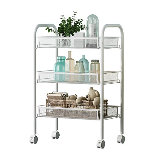 Renzhongren 3-Shelf D25.8cm W44.5cm H63.8cm White Steel Storage Rack Basket Shelving Unit Trolley Cabinet Kitchen Island with Caster Wheels WJM4663-3WH by USUN