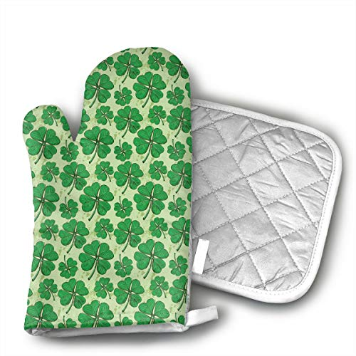 MEILVWEN Four Leaf Clover Luck St Patrick S Day Oven Mitt and Pot Holder Set,Heat Resistant for Cooking and Baking Kitchen Gift ()