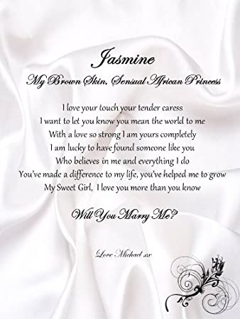 Personalised Romantic Marriage Proposal A4 Scroll - African