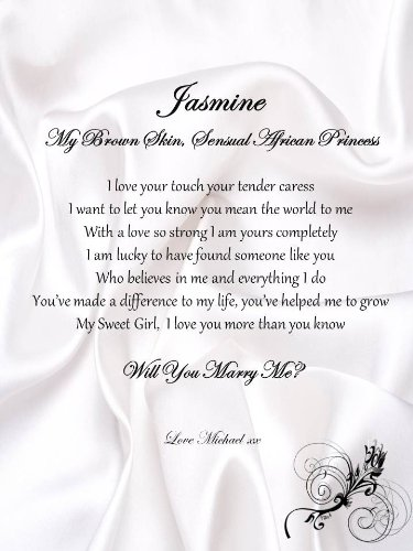 Personalised Romantic Marriage Proposal A4 Scroll African Princess