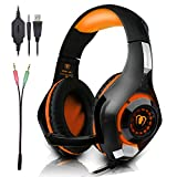 Beexcellent Gaming Headset with Microphone for New Xbox PS4 PC Smart phone Laptops- Surround Sound, Noise Reduction Game Earphone - Easy Volume Control with LED Lighting 3.5MM Jack (Orange)
