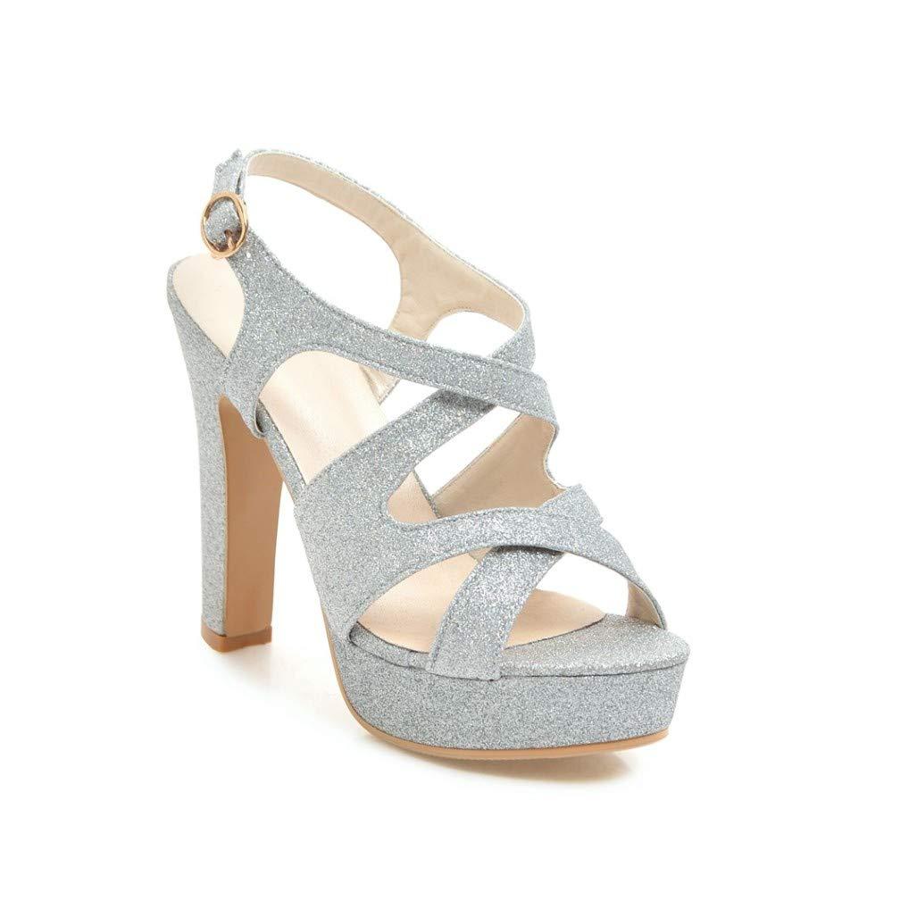 Silver MEIZOKEN Womens Ankle Strap Block Heel Platform Sandal Peep Toe Crisscross Strappy Cutout Party Pump Sandals