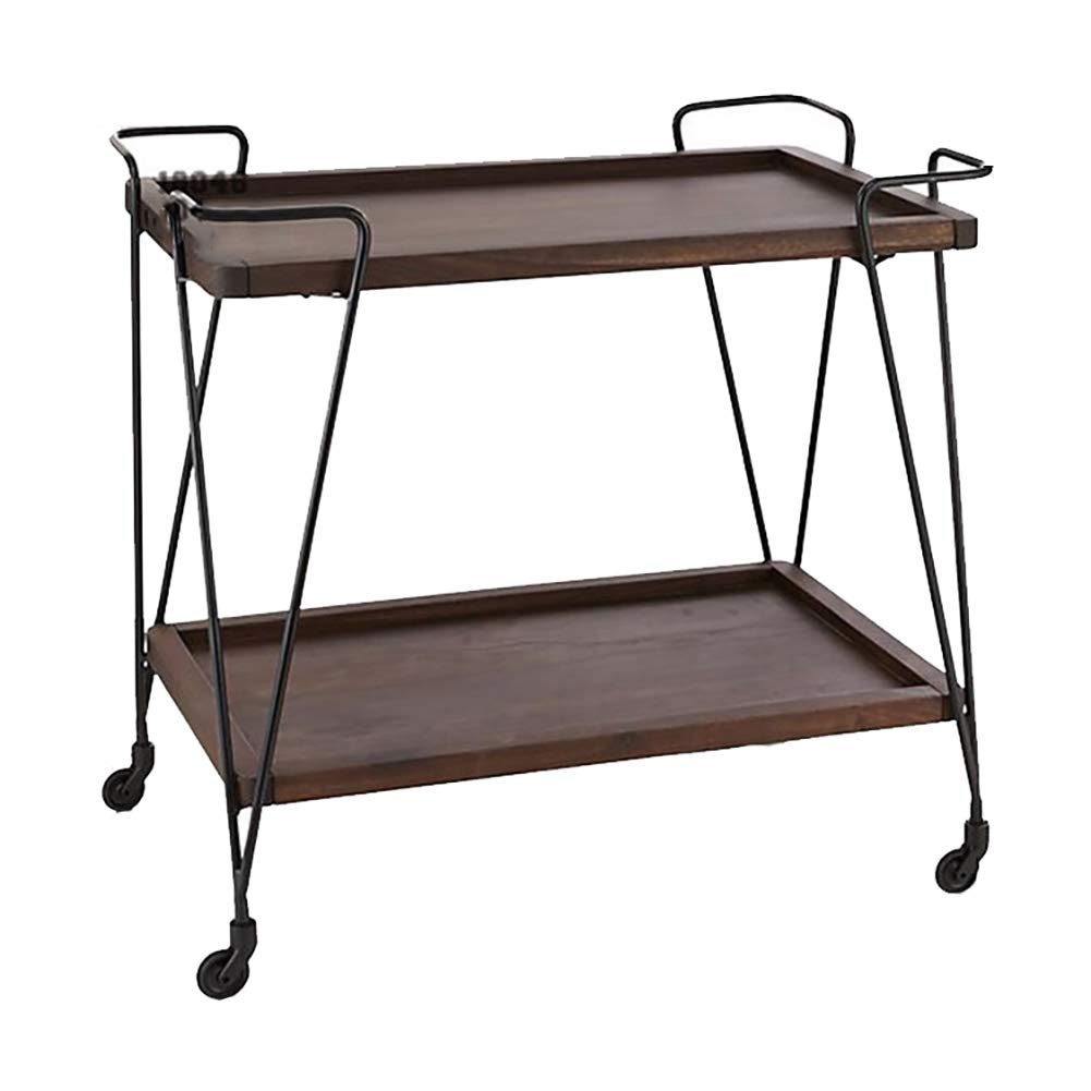 Kitchen Cart European Wrought Iron Hotel Dining Car, Trolley Wine Rack Multi-Function Rack Home Trolley with Wheels (603575cm) by Kitchen Cart (Image #1)
