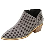 Clearance! Womens Zipper Pointed Toe Shoes Pure Color Hollow Booties Ladies Buckle Strap Square Heel Single Shoes