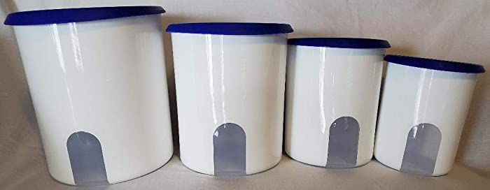 Tupperware One Touch Reminder Canister Set. Brilliant Blue Seals