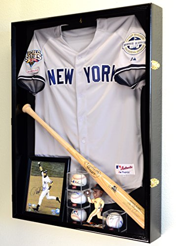 Sports Jersey Display Case Select Your Size 98% UV Lockable 3 Sizes to Choose Uniform Jacket Frame (Black Wood Finish, Extra Deep Jersey=38x29x4.75)