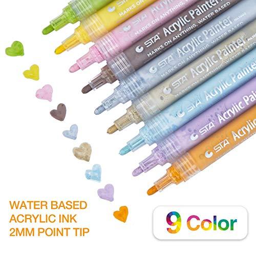 PuTwo Acrylic Paint Marker Pens 9 Pcs Acrylic Markers Permanent Acrylic Painter 100% Non-Toxic Odorless Acrylic Painting Marker Pens for Rock Painting, Mug Design, Canvas, Photo Album - Pastel Colors