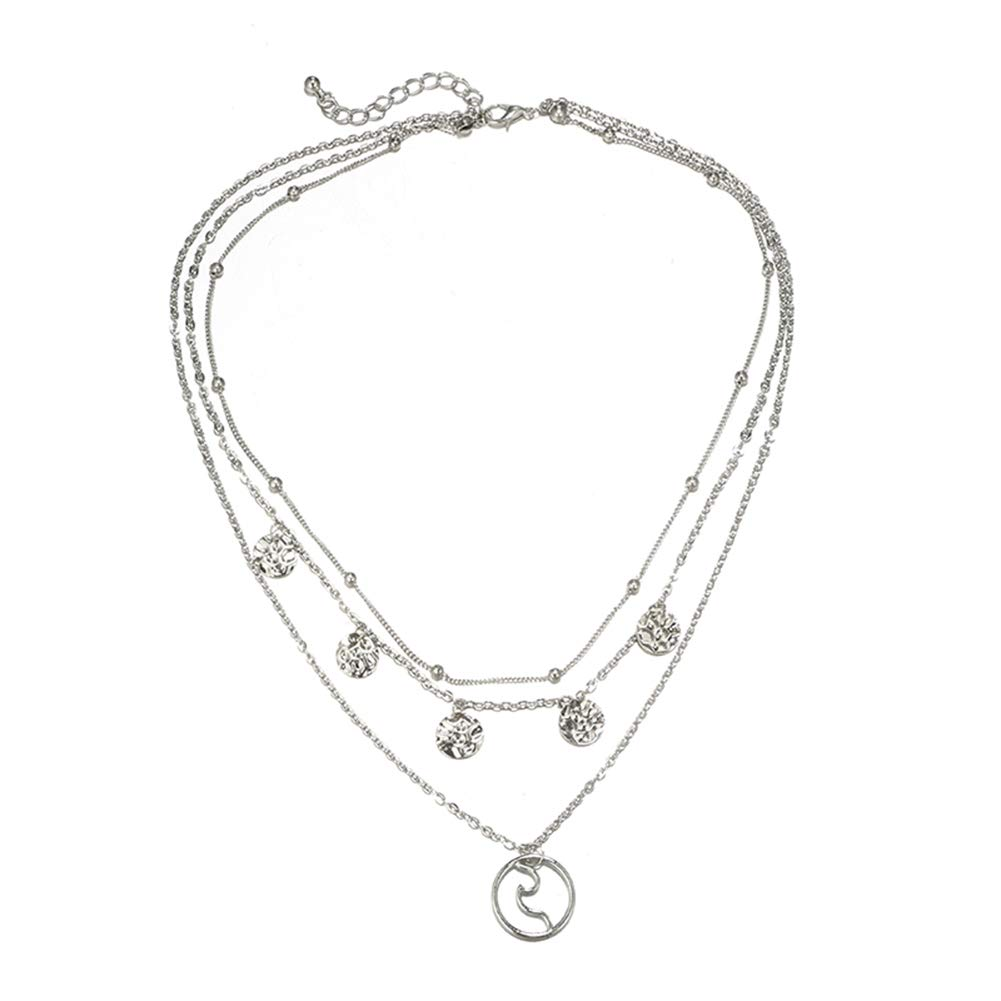 Gilroy Multilayer Necklace Boho Hollow Circle Beaded Round Charm Pendant Chain Necklace for Women Girls