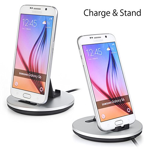 KUDEAR 3 in 1 Smart Fast Safe Charging Station Dock &Anti-slip Cell Phone Stand For Desk, Sync Data Transfer Dock,Stand For all Android Smartphone (silver)