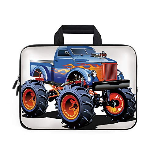 (Man Cave Decor Laptop Carrying Bag Sleeve,Neoprene Sleeve Case/Cartoon Monster Truck Huge Tyres Off road Heavy Large Tractor Wheels Turbo Decorative/for Apple Macbook Air Samsung Google Acer HP DELL L)