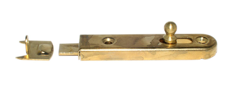 Mö belriegel 70 mm gerade, mit Anschlag, vermessingt, 2 Stk., 0340106 Metafranc