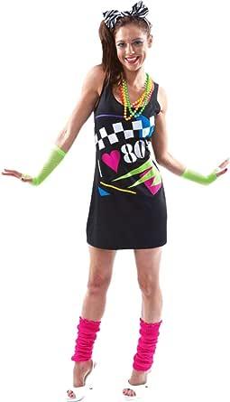 ORION COSTUMES Disfraz Retro de Neón Amo los años 80 para Mujeres