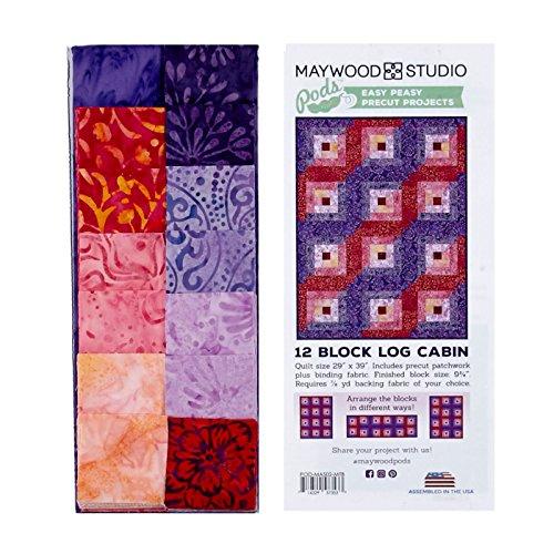 (Maywood Studio Mango Tango Batiks 12 Block Log Cabin Quilt Multi)