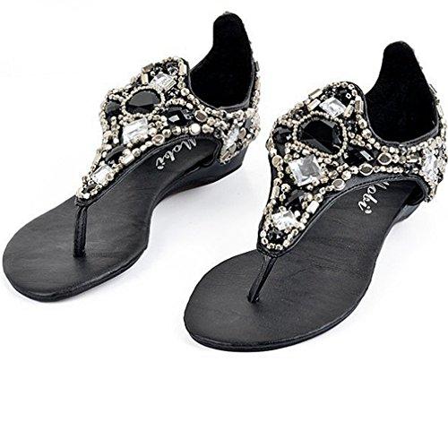 (Zarbrina Women's Open Toe Gladiator Rhinestone Beads Strappy Studded Anti-Slip Girls Wedge Sandal Black)