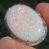 KathShop White Oval Female Opal Ring White Gold