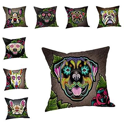 """Dog Faces Decorative Pillowcases,Woaills 18"""" x 18"""" Cotton Linen Cushion Cover Sofa Invisible Zipper Throw Pillow Case Home Decor"""