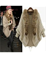 Leshery Womens Autumn Winter Warm Coat Fur Collar Bat Sleeve Cardigan Sweater Jackets (Fur Collar)