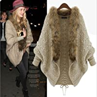 Leshery Womens Autumn Winter Warm Coat Fur Collar Bat Sleeve Cardigan Sweater Jackets (Fur Collar)