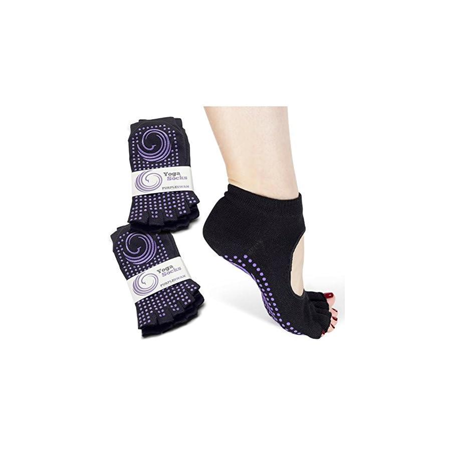 Non slip Open Toe Yoga Socks, Socks for Pilates/Barre (2 Pairs)