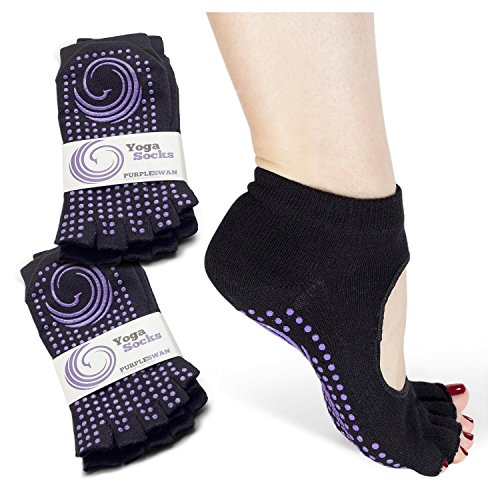 Non slip Open Toe Yoga Socks, Socks for Pilates/Barre (2 Pairs)