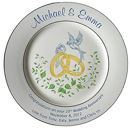 Amazon Personalized Bone China Commemorative Plate For A 20th
