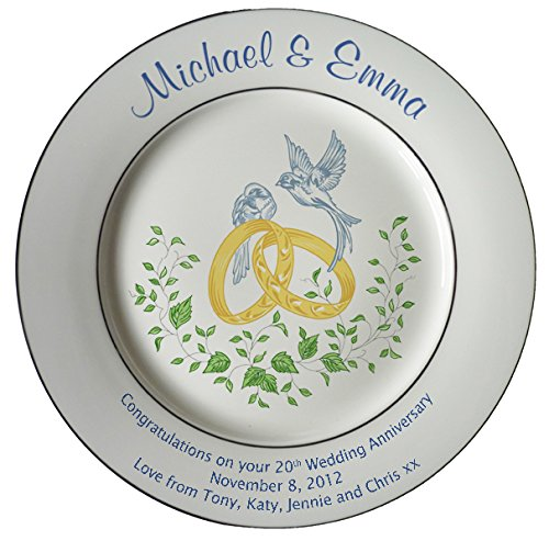 20th Anniversary Plate - Heritage Pottery Personalized Bone China Commemorative Plate for A 20th Wedding Anniversary - Rings and Doves Design with 2 Silver Bands