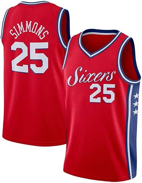 xisnhis Camisetas NBA,Camiseta de Baloncesto para Hombre,Hombres Jersey TAMA/ÑO: S-XXL NBA Phila 76ers 25# Simmons Bordado de Malla de Baloncesto Swingman Jersey