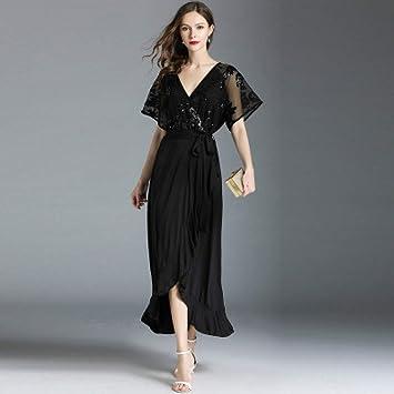 Cxlyq Vestidos Lentejuelas De Verano Costura De Gasa De Gran Tamaño Vestido De Mujer
