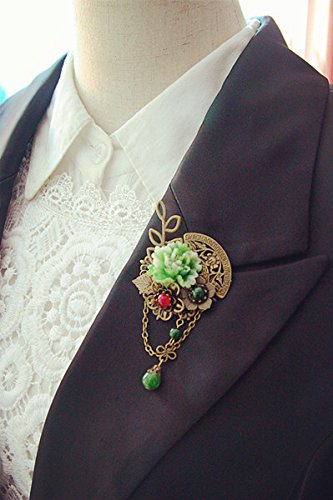 Old time classic retro jade lotus flower corsage brooch pin collar lapel collar pin shirt - Jade Brooch Pin