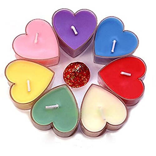 Befamous Heart Shaped Floating Smokeless Tealights Candles for Wedding Reception Party Decorations Charch Home Hotel Resturant (Pack of 9)assorted Color