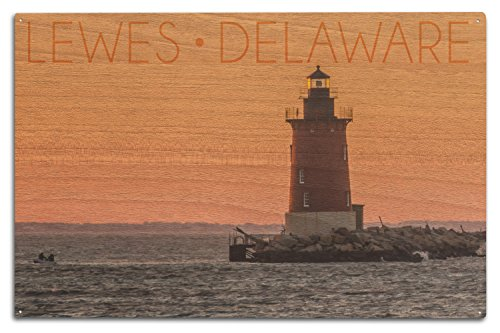 Lantern Press Lewes, Delaware - Cape Henlopen Lighthouse Sunset (10x15 Wood Wall Sign, Wall Decor Ready to Hang)