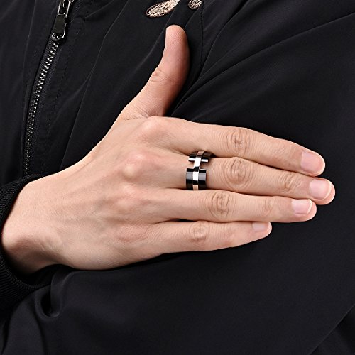 King Will TIME 11mm Black and White Mens Stainless Steel Wedding Band Ring Matte Finished 12.5 by King Will (Image #3)