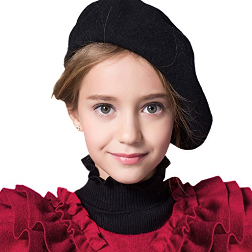 (Baby Kids Girls Boys 100% Wool French Beret Cap Classic Parisian Hat Solid Color French Artist Beret Tam Winter Warm Bailey Hat Dome Beanie Cap Hat Headwear for Children (Black))