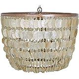 "KOUBOO 1050083 Capiz Seashell Draped Pendant Lamp, Champagne, 23.5"" x 23.5"" x 18.5"""