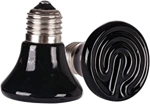 MD Lighting Mini Reptile Heat Lamp Bulb 2 Pack, 25W 60MM Pet Infrared Ceramic Heat Emitter for Brooder Coop, Lizard, Lambs, Snake, No Light, Black, 110V