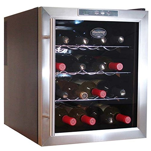 Vinotemp VT-16TEDS Thermo-Electric Digital 16-Bottle Wine Chiller, Black and Stainless by Vinotemp