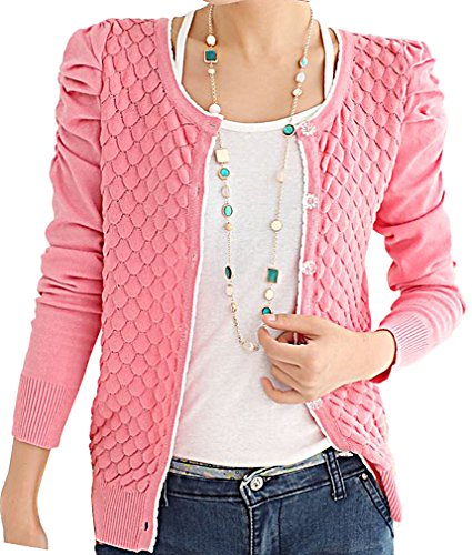 Maze, Women's Long Ruched Sleeve Fish Scale Button Up Short Sweater Cardigan, Pink One Size