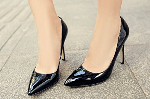 LizForm Classic Pointed toe Three Inch Stiletto Pump Patent Leather Pump Dress Heels Black TLxt7