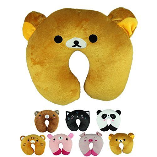 Voberry® Cute Cartoon Panda Cats Bear Pig Pattern Design Travel Car Home Pillow, U Shape Neck Pillow Rest pillow Protect Neck Cervical Spine (OrangeBear) from Voberry