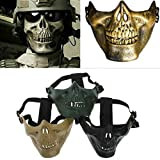 CAMTOA Tactical Mask Protect Face Cover Skull Skeleton Airsoft Paintball Half Face Protect Mask Protect Gear Mask Guard For Halloween, Hunting Game, CS